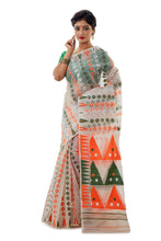 White Dhakai Jamdani With Multi-Colour Design - Saree