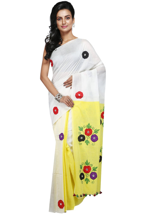 Handloom Cotton Applique Saree - Saree
