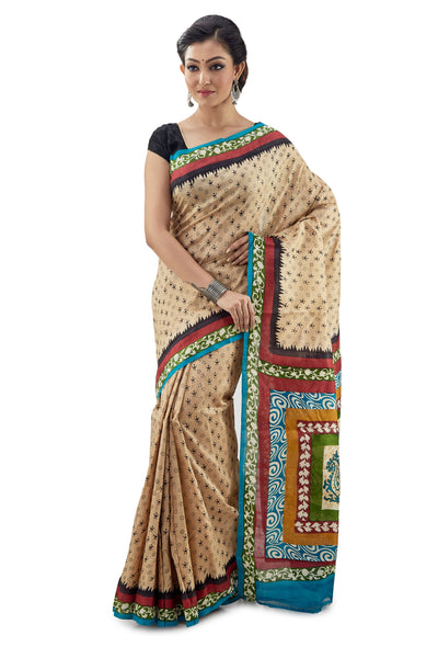 Multi-Colour Murshidabadi Pure Silk - Saree