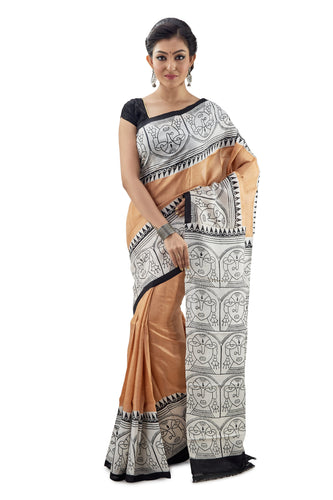 Ivory Murshidabad Pure Silk Saree