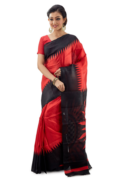 Scarlet Red Murshidabad Pure Silk Saree - Saree