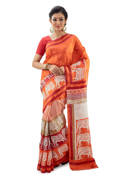 Orange Murshidabad Pure Silk Saree