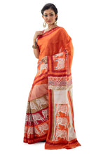 Orange Murshidabad Pure Silk Saree - Saree