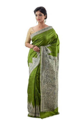 Parrot Green Murshidabad Pure Silk Saree
