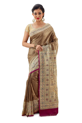 Golden Murshidabadi Pure Silk - Saree