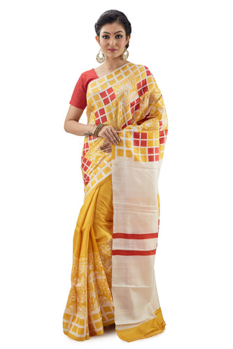 Yellow - Red Boxed Murshidabad Pure Silk Saree