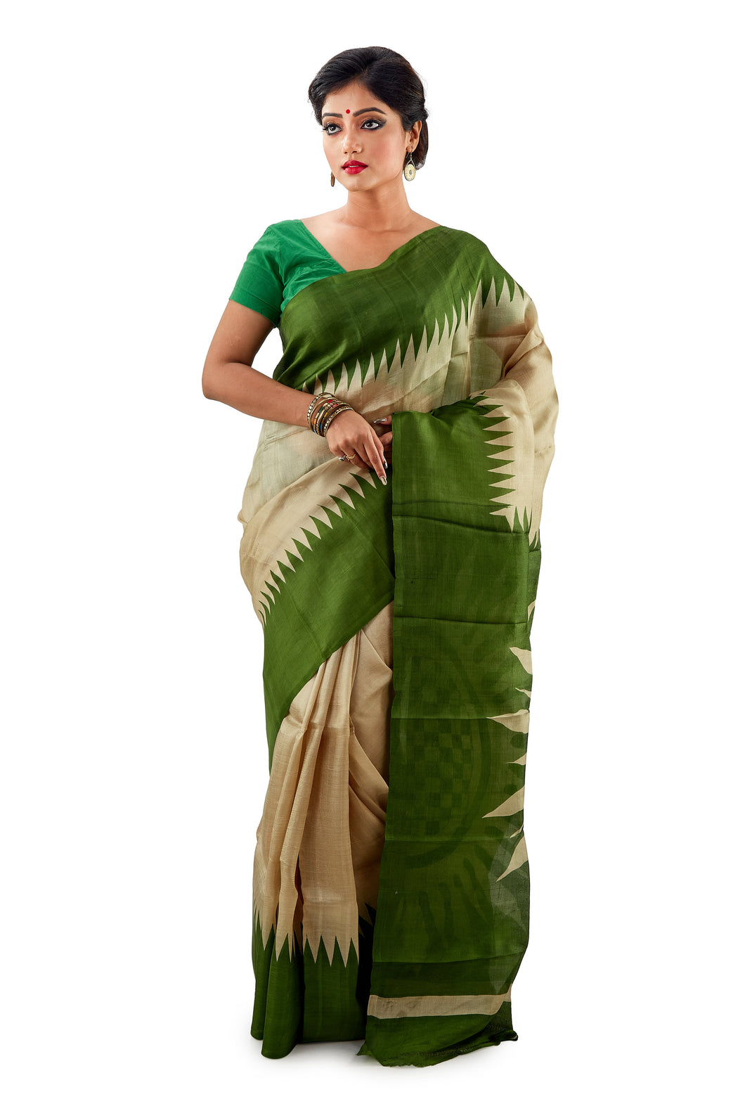 Green And Golden Murshidabadi Pure Silk - Saree