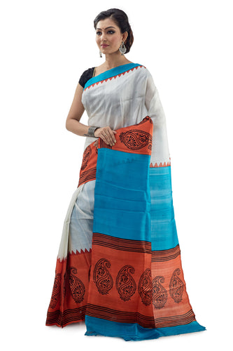 White Orange And Blue Murshidabadi Pure Silk - Saree