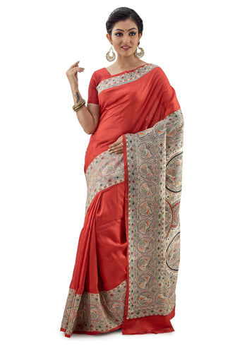Rossy Red Murshidabad Pure Silk Saree