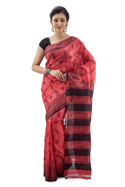 Apple Red Murshidabadi Pure Silk - Saree