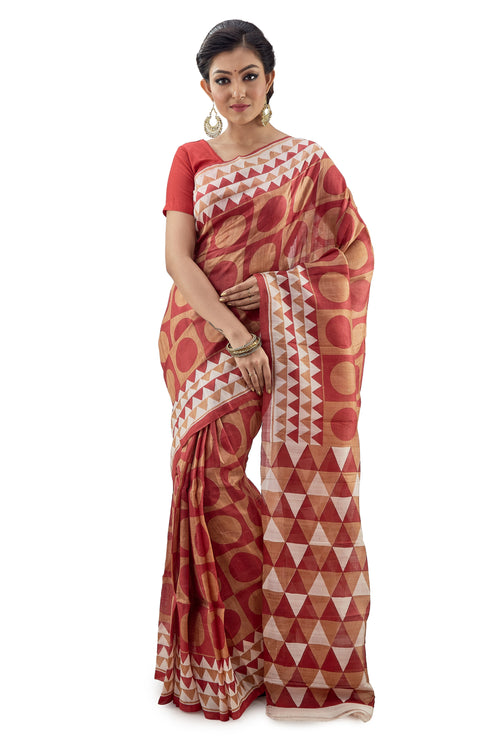 Maroon and Golden Murshidabad Pure Silk Saree