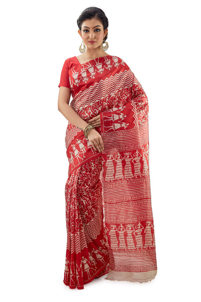 Red Block Printed Murshidabadi Pure Silk - Saree