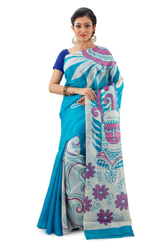 Sky Coloured Murshidabad Pure Silk Saree