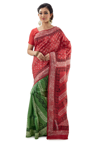 Red - Green Murshidabad Block Printed Pure Silk Saree - Saree