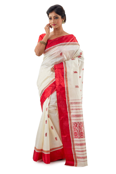 Off-white & Red Murshidabad Pure Garad Silk Saree