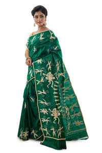 Green Applique work Murshidabadi Pure Silk