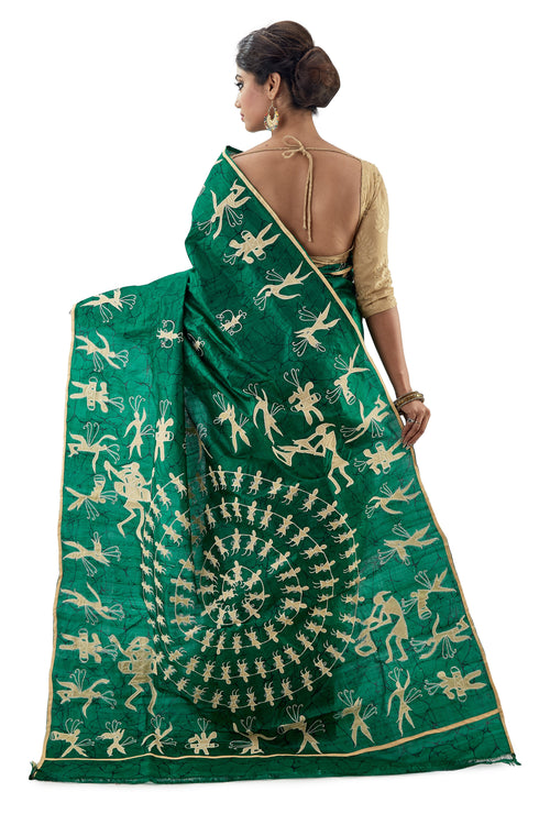 Green Applique Work Murshidabadi Pure Silk - Saree