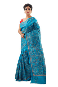 Ocean Blue Heavy Kantha Work Murshidabadi Pure Silk - Saree