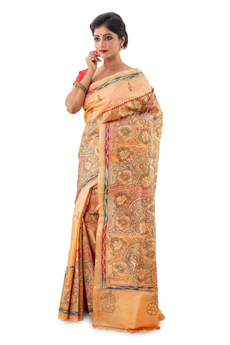 Cantalope Murshidabadi Pure Silk with Kantha