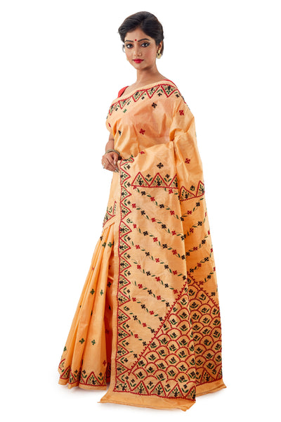 Bright Orange Murshidabadi Pure Silk with Gujrati work