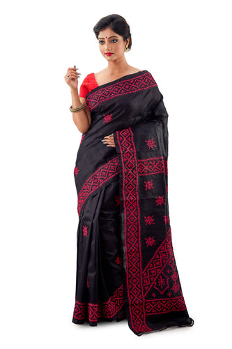 Black Murshidabadi Pure Silk With Gujrati Work - Saree