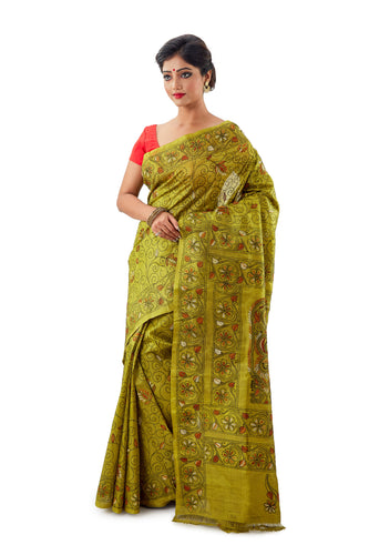 Murshidabad Pure Silk Saree With Thread Work - Saree