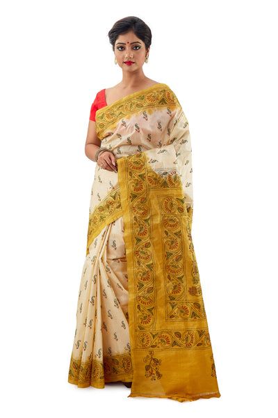 Off-White & Lemon Yellow Murshidabadi Pure Silk With Kantha Work - Saree
