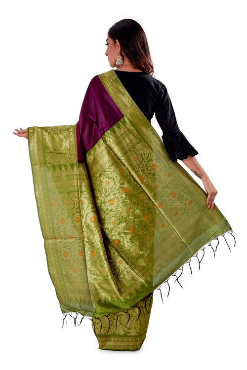 Violet-base-with-green-heavy-work-aanchal-resham-suti-SNCS1101-4