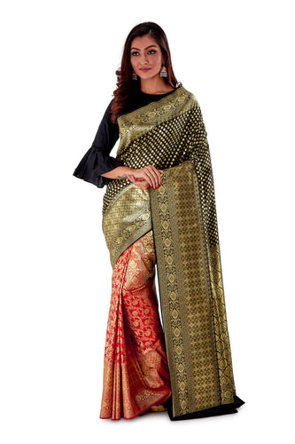 Black-and-Red-contrast-opara-silk-saree-SNCS1103-1