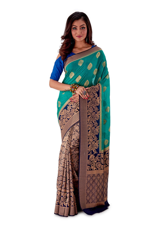 Green-base-with-blue-aanchal-and-Golden-zari-all-body-zari-work-saree-SNCS1118-1