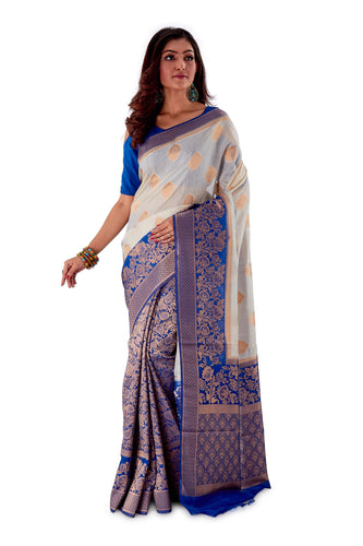 White-base-with-blue-aanchal-and-Golden-zari-all-body-zari-work-saree-SNCS1119-1