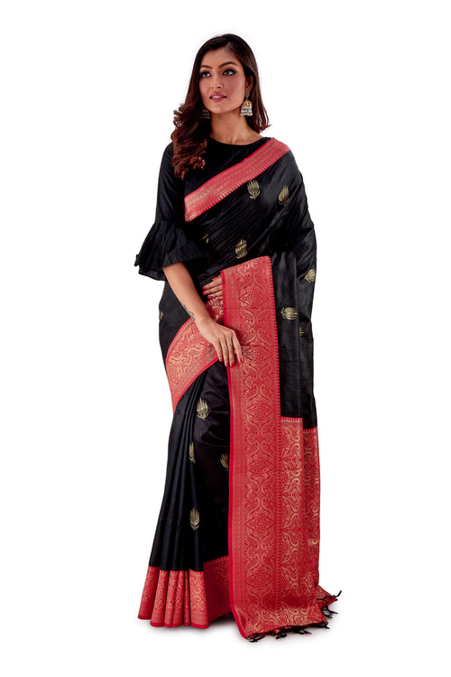 Black-base-with-Red-aanchal-and-Golden-zari-all-body-zari-work-saree-SNCS1120-2