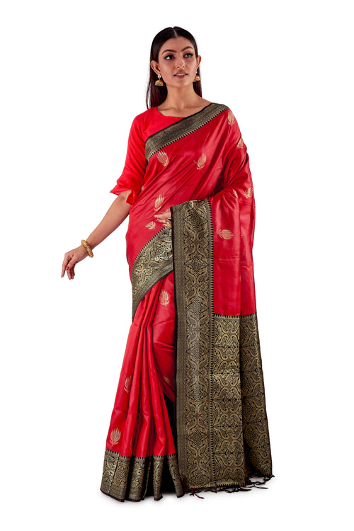 Red-base-with-Black-aanchal-and-Golden-zari-all-body-zari-work-saree-SNCS1121-2