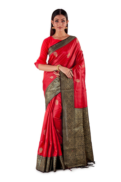 Red-base-with-Black-aanchal-and-Golden-zari-all-body-zari-work-saree-SNCS1121-1