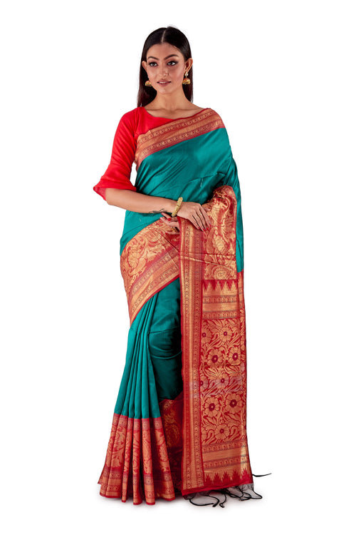 Green-base-with-Red-aanchal-and-Golden-zari-all-body-zari-work-saree-SNCS1125-2