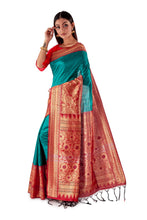Green-base-with-Red-aanchal-and-Golden-zari-all-body-zari-work-saree-SNCS1125-3