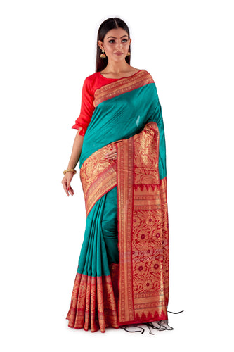 Green-base-with-Red-aanchal-and-Golden-zari-all-body-zari-work-saree-SNCS1125-1