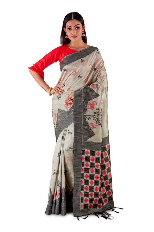Grey-all-body-multi-coloured-block-printed-saree-SNCS1126-2