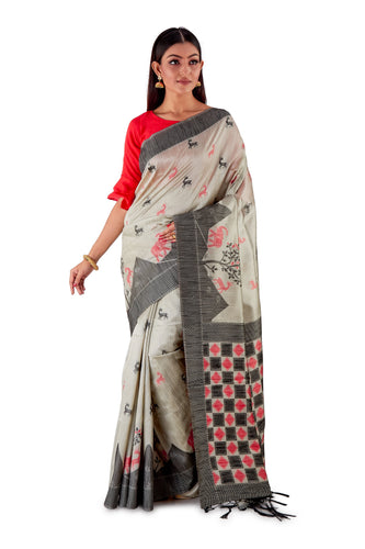 Grey-all-body-multi-coloured-block-printed-saree-SNCS1126-1