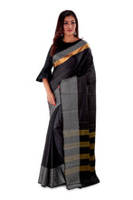 Black-block-printed-resham-suti-saree-SNCS1128-2