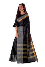 Black-block-printed-resham-suti-saree-SNCS1128-3