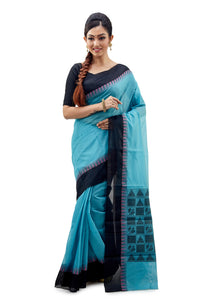 Blue Designer Resham Saree With Black Border - Saree