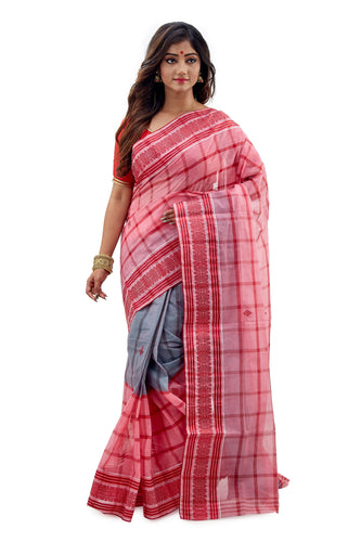 Grey and Creamy Pink Dhaniakhali Tant Saree
