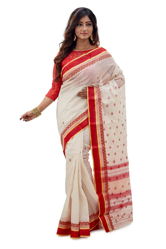 White & Red Dhaniakhali Traditional Tant Saree - Saree