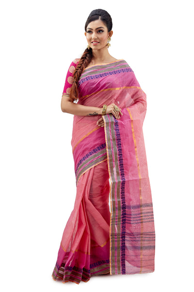 Pink & Peach Dhaniakhali Tant Saree