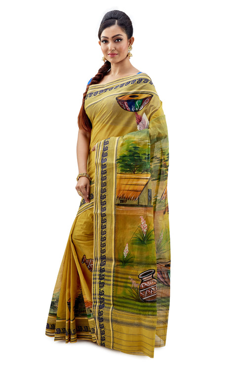 Golden Yellow With Fabric Work On Dhaniakhali Tant Saree - Saree