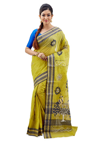 Lime Green Dhaniakhali Tant Saree with gorgeous thread work