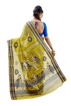 Lime Green Dhaniakhali Tant Saree With Gorgeous Thread Work - Saree