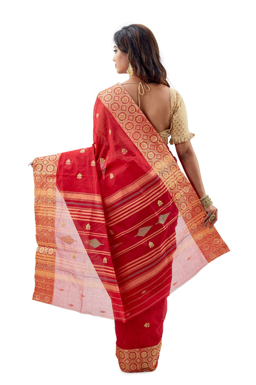 Red & Golden Dhaniakhali Traditional Tant Saree