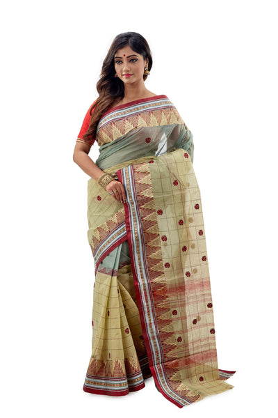 Moss Green Dhaniakhali Traditional Tant Saree